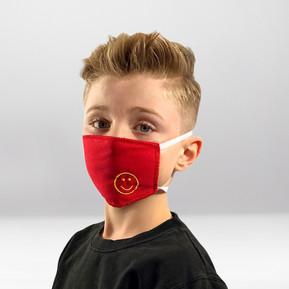 Rote bestickte Maske Smiley
