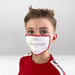 Maske Weiß-Rot