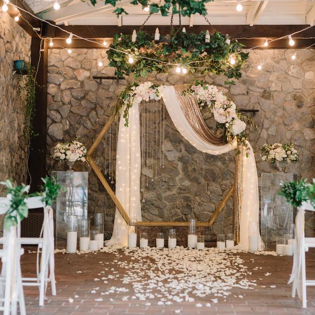 Beautiful modern hexagon wedding arch fo