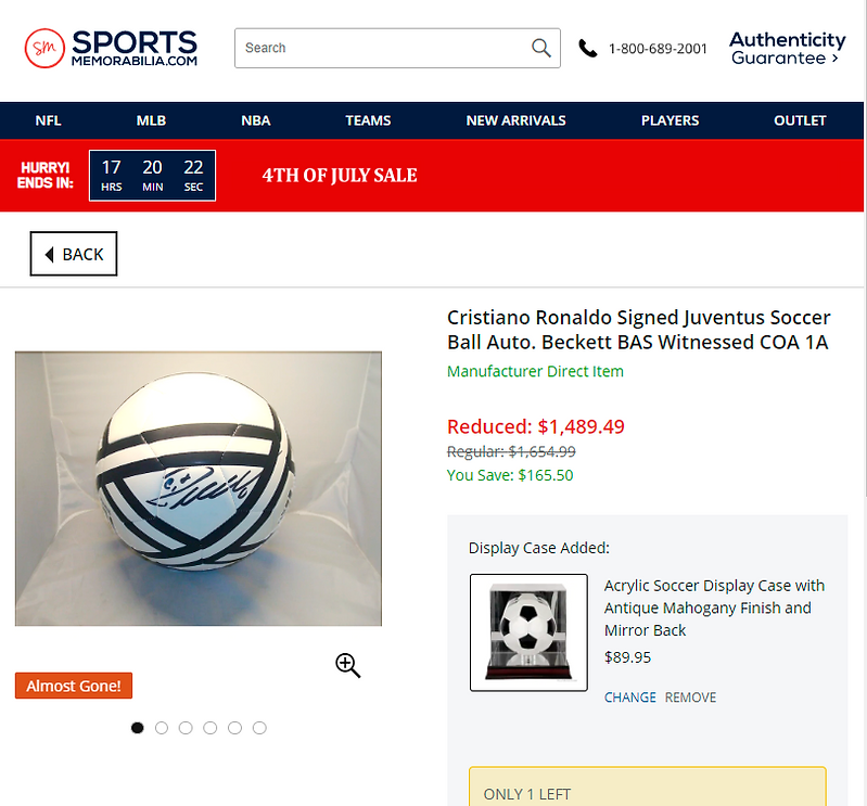 Signed football by Ronaldo - Beckett.png