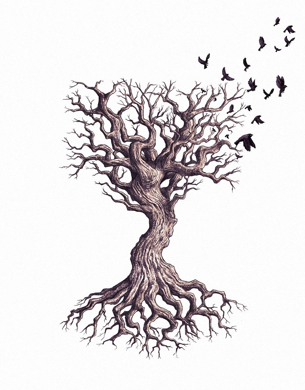 Tree & Sparrows