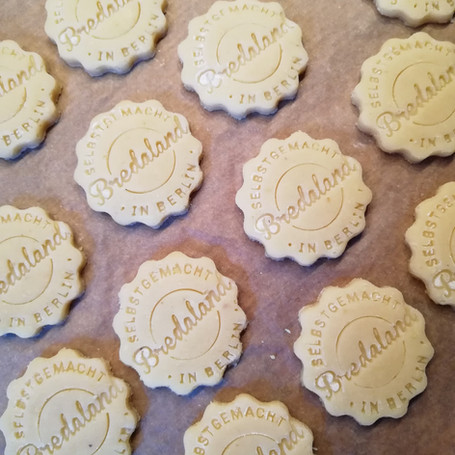 Company logo on biscuits