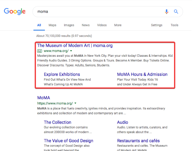 What museum Google Ads look like