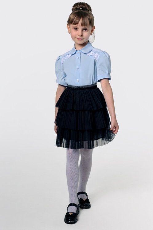 Блузка для девочки 103-1 голубая