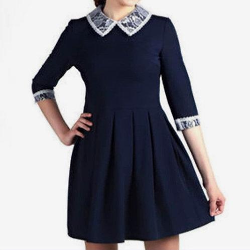 Платье синее SD A07 короткий рукав