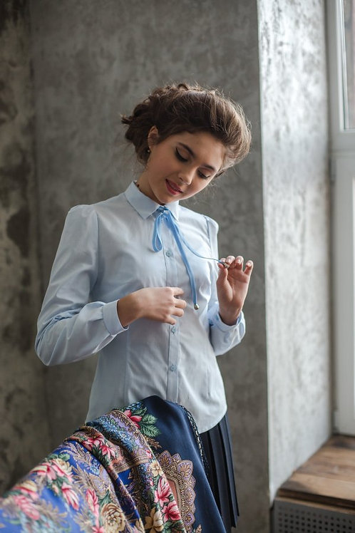 Блузка для девочки 116 голубая