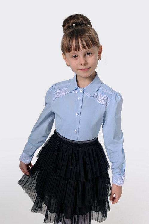 Блузка для девочки 103 голубая