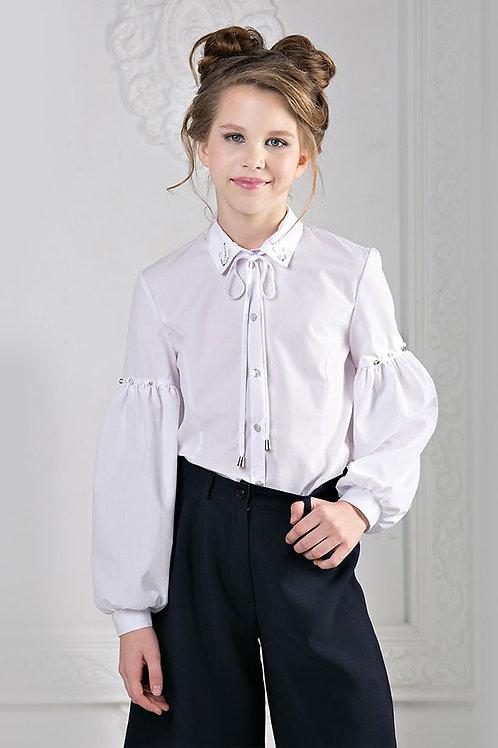 """Блузка для девочки 9106С """"Втачной рукав стразы"""""""