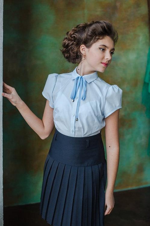 Блузка для девочки 216 голубая