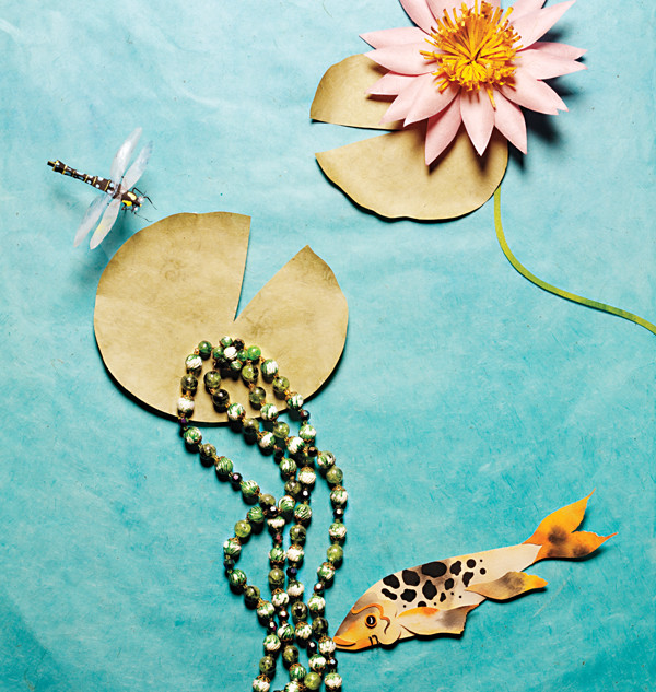 Koi fish with lily pad and necklace