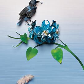 Blackbird with jewel nest