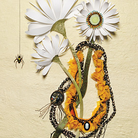 Spider and daisies with necklaces