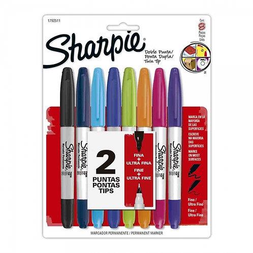 Sharpie Doble Punta x8