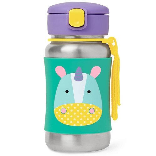 Botella Unicornio con Pajita Acero