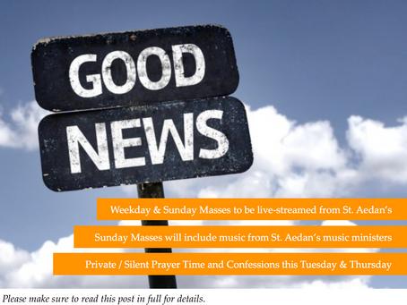 Good News Flash! / ¡Una Muy Buena Nueva para St. Aedan's!