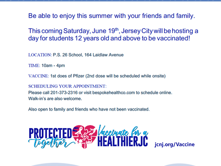 COVID-19 vaccines for students 12 years old and above, this Saturday 6/19!