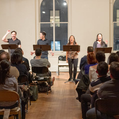 The first reading of On This Side of the World at Access Theater, NYC, on February 15, 2019. Featuring Michael Protacio, Sam Simahk, Chris Ignacio, Joanne Javien, Diane Phelan and Belinda Allyn.Photo by Joseph Legáspi.