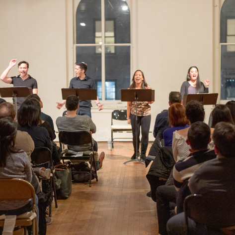 The first reading of On This Side of the World at Access Theater, NYC, on February 15, 2019. Featuring Michael Protacio, Sam Simahk, Chris Ignacio, Joanne Javien, Diane Phelan and Belinda Allyn. Photo by Joseph Legáspi.