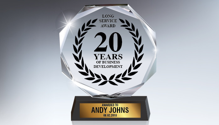 Image of 20 years award for business development.