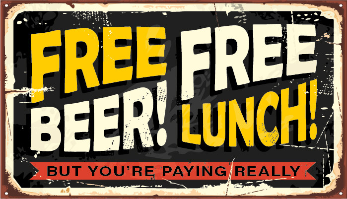Image advertising Free Beer and a Free Lunch