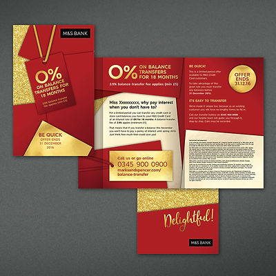 M&S Bank Direct Mail Design Chester