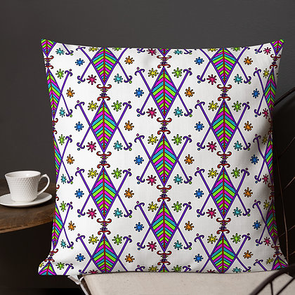 Ayizan Rainbow Veve White Premium Pillow