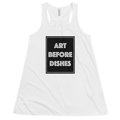 Art before Dishes Funny Humor Artist Women's Flowy Racerback Tank