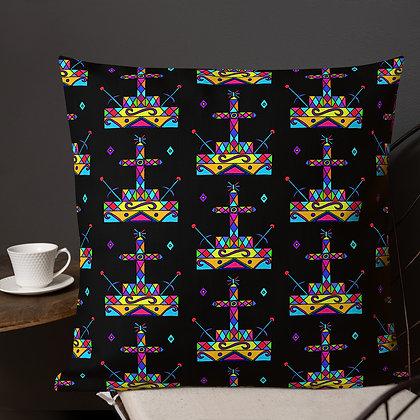 Baron Samedi Rainbow Veve Black Premium Pillow