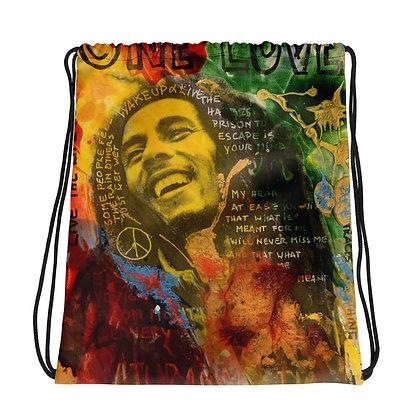 One love Bob Marley Drawstring bag by artist Christina Schultz