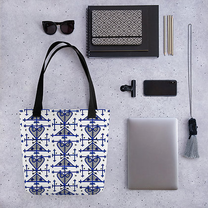 Gran Brigitte Manman Brigitte Veve Graphic Blue and Black Pattern Haiti Tote bag