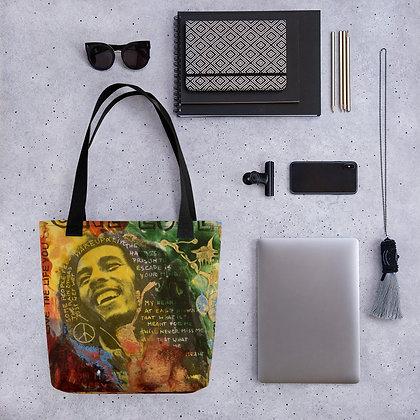 One Love Bob Marley designed by Christina Schultz Tote bag