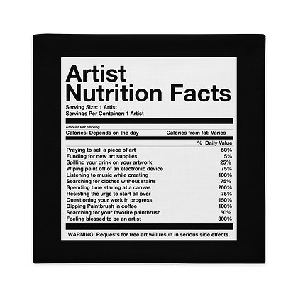 Artist Nutrition Facts Art Meme Gifts Premium Pillow Case