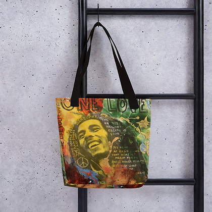 Bob Marley One love designed by Christina Schultz Tote bag