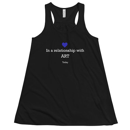 In a relationship with art status humor Women's Flowy Racerback Tank