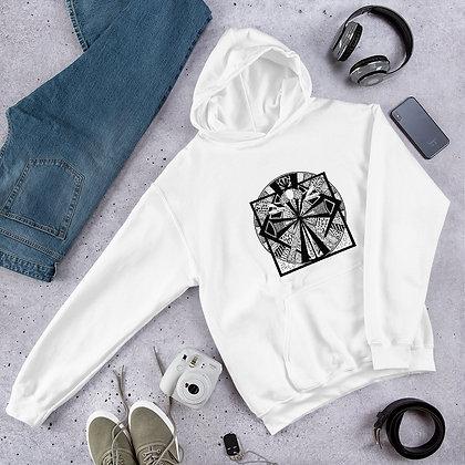 Vitruvian Man Black and White Graphic Unisex Hoodie