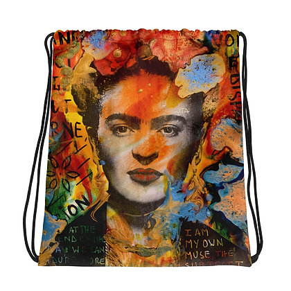 Frida Kahlo Artwork by Christina Schultz Drawstring bag
