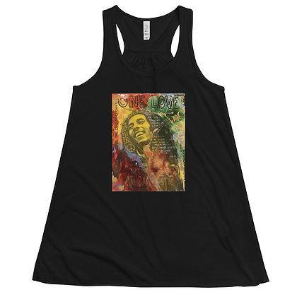 Bob Marley designed by Christina Schultz Women's Flowy Racerback Tank