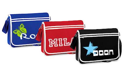 schooltas met naam retro messengerbag