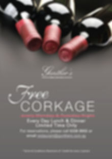 Free corkage Monday and Tuesday