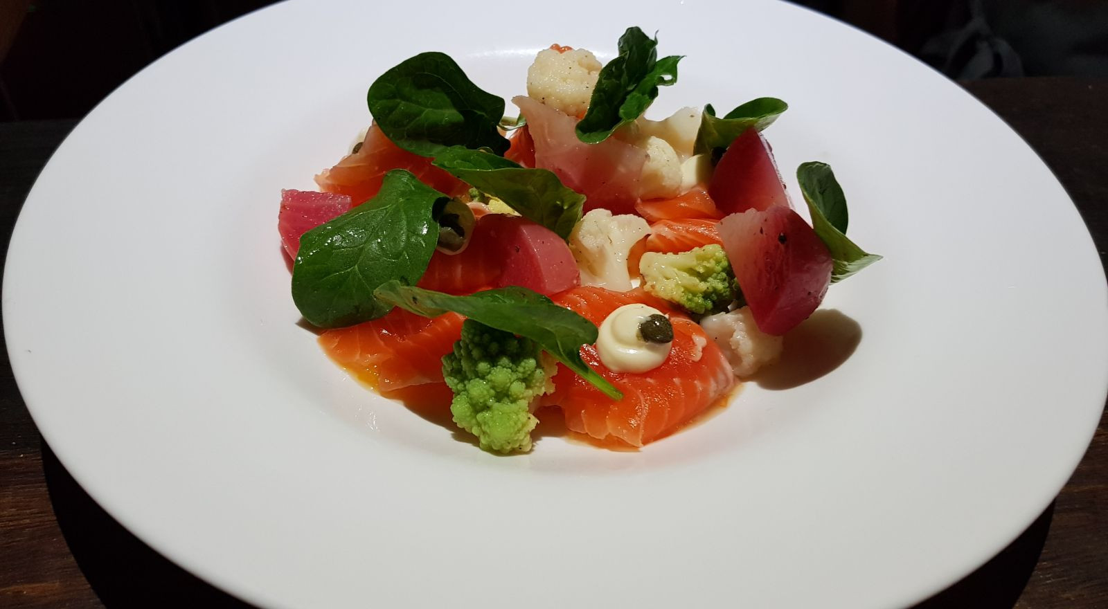 Marinated Scottish trout and multicolor beetroot