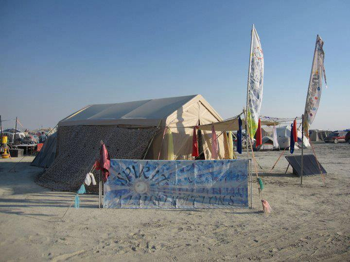 Spirit Tent with coloured flags at previous Burning Man Festival