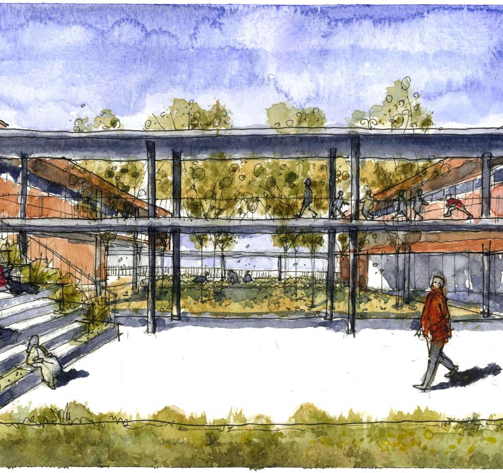 Pátio refeitório Escola Crixá Distrito Federal - YVA Arquitetura