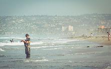 ビーチで釣り