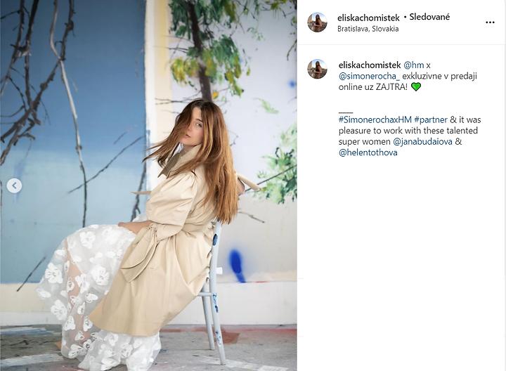 "Jana Budaiova na Instagrame_ ""@eliskacho"