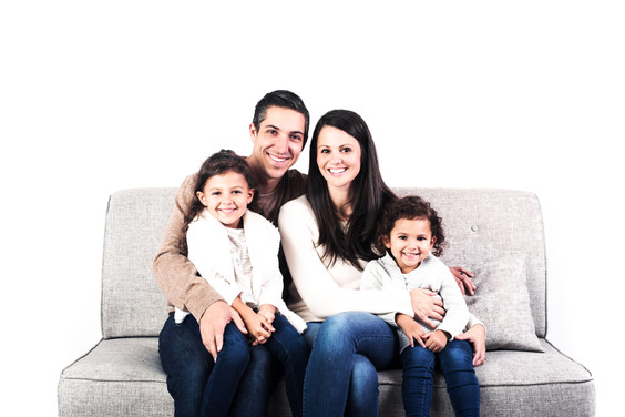 Family of Four In the Studio