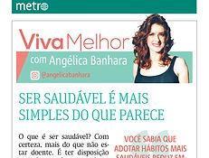 coluna Viva Melhor com Angelica Banhara no Metro Jornal