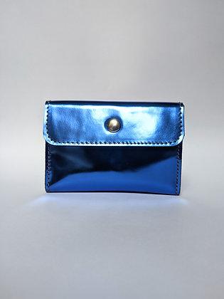 Porte-monnaie compact bleu métallisé