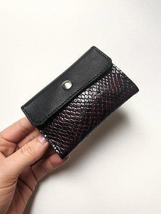 Porte-monnaie compact bicolore noir et effet python bordeaux
