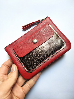 Porte-monnaie zip rouge et cuivre