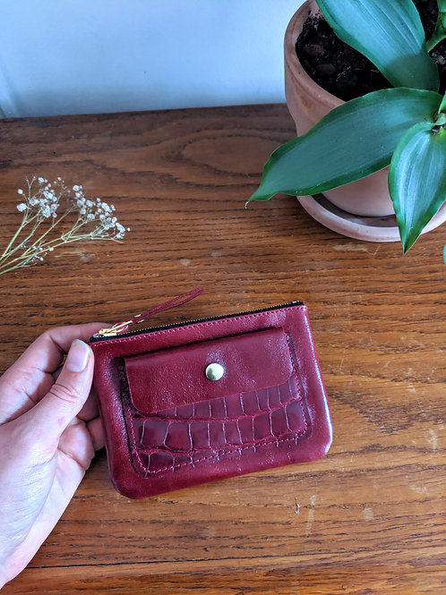 Porte-monnaie zip bordeaux alligator